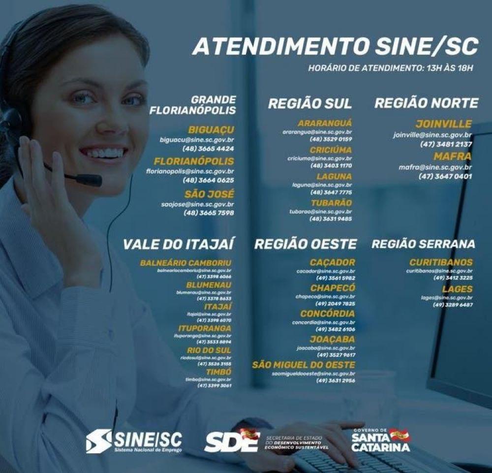 Veja os contatos do Sine em SC(Foto: Divulgação)