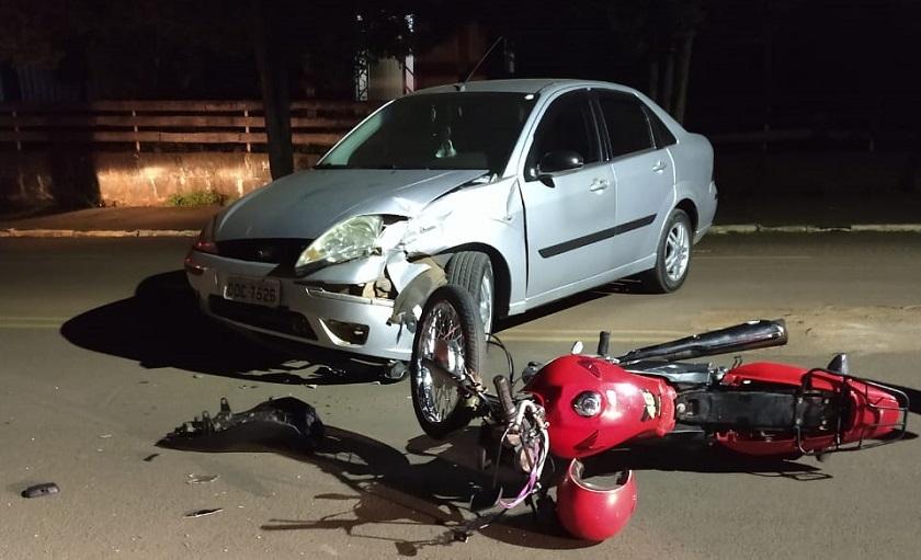 Motociclista ferido em acidente em Cunha Porã