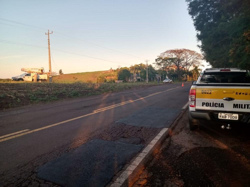 Cabos rompem e causam acidente de trânsito na SC-163 em São João do Oeste