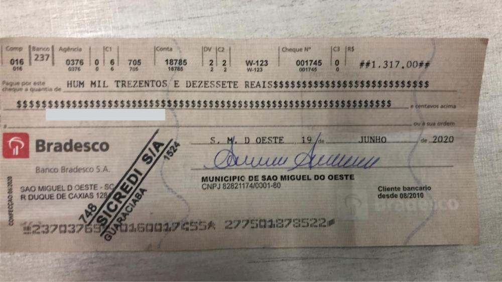 Empresário de Guaraciaba cai em golpe com cheque falso da Prefeitura de São Miguel do Oeste