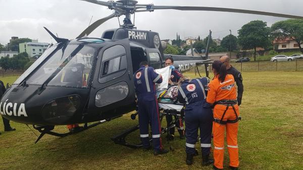 Idosa é transferida de helicóptero de São Miguel do Oeste a Xanxerê