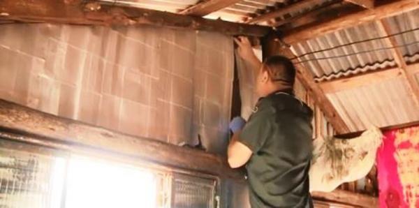 Caixas de leite são usadas para proteger casas de madeira da chuva e do frio em SC