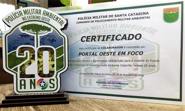 Oeste em Foco recebe comenda da Polícia Militar Ambiental