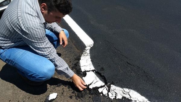 DNIT se manifesta sobre defeito em asfalto novo na BR-282 em Pinhalzinho