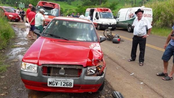 Motociclista gravemente ferido em colisão frontal na SC-492 em São Miguel da Boa Vista