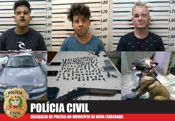 Três são presos por tráfico de cocaína em Nova Itaberaba