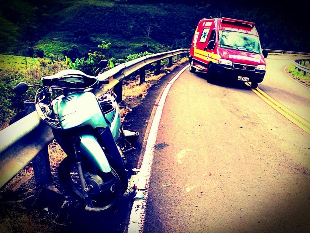 Motociclista ferido em queda na SC-492 em Barra Bonita
