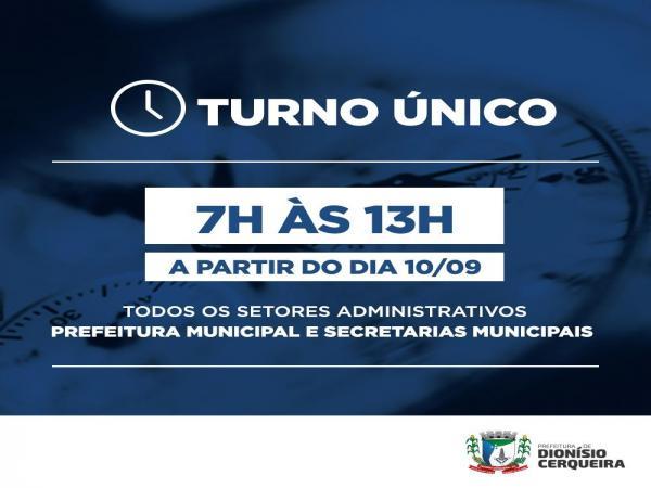 Prefeitura de Dionísio Cerqueira adota turno único de funcionamento