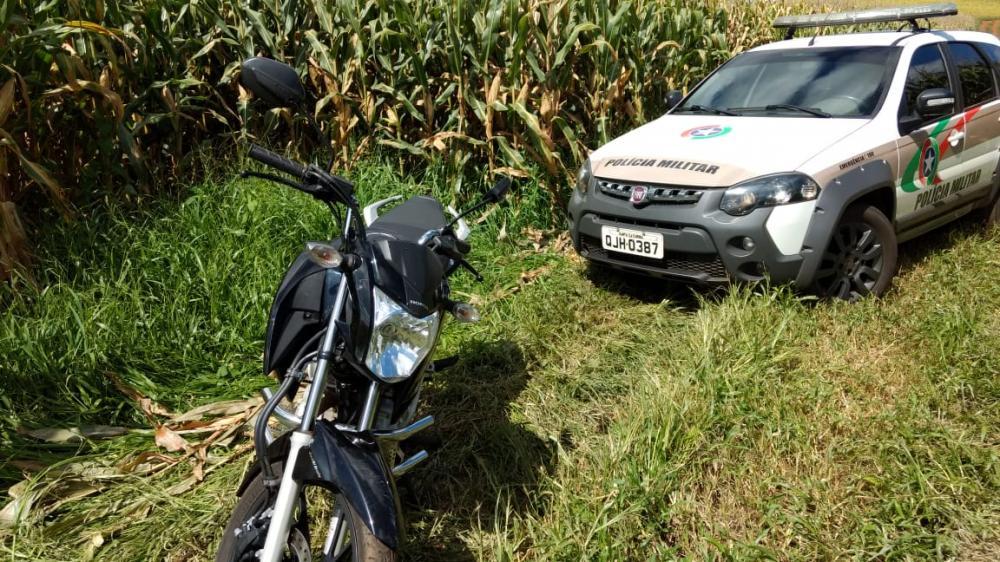 PM recupera motocicleta furtada em menos de uma hora em Campo Erê
