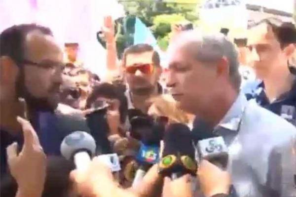 Ciro se irrita e dá empurrão em homem durante entrevista em Roraima